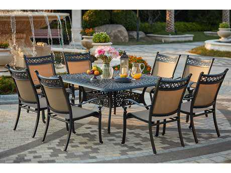 Darlee Outdoor Living Standard Mountain View Cast Aluminum 9- Piece Dining Set with 60 Inch Square Dining Table in Antique Bronze