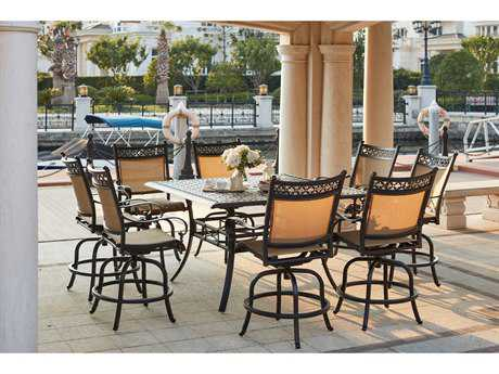 Darlee Outdoor Living Standard Mountain View Cast Aluminum 9- Piece Counter Height Dining Set with Square Counter Height Dining Table in Antique Bronze