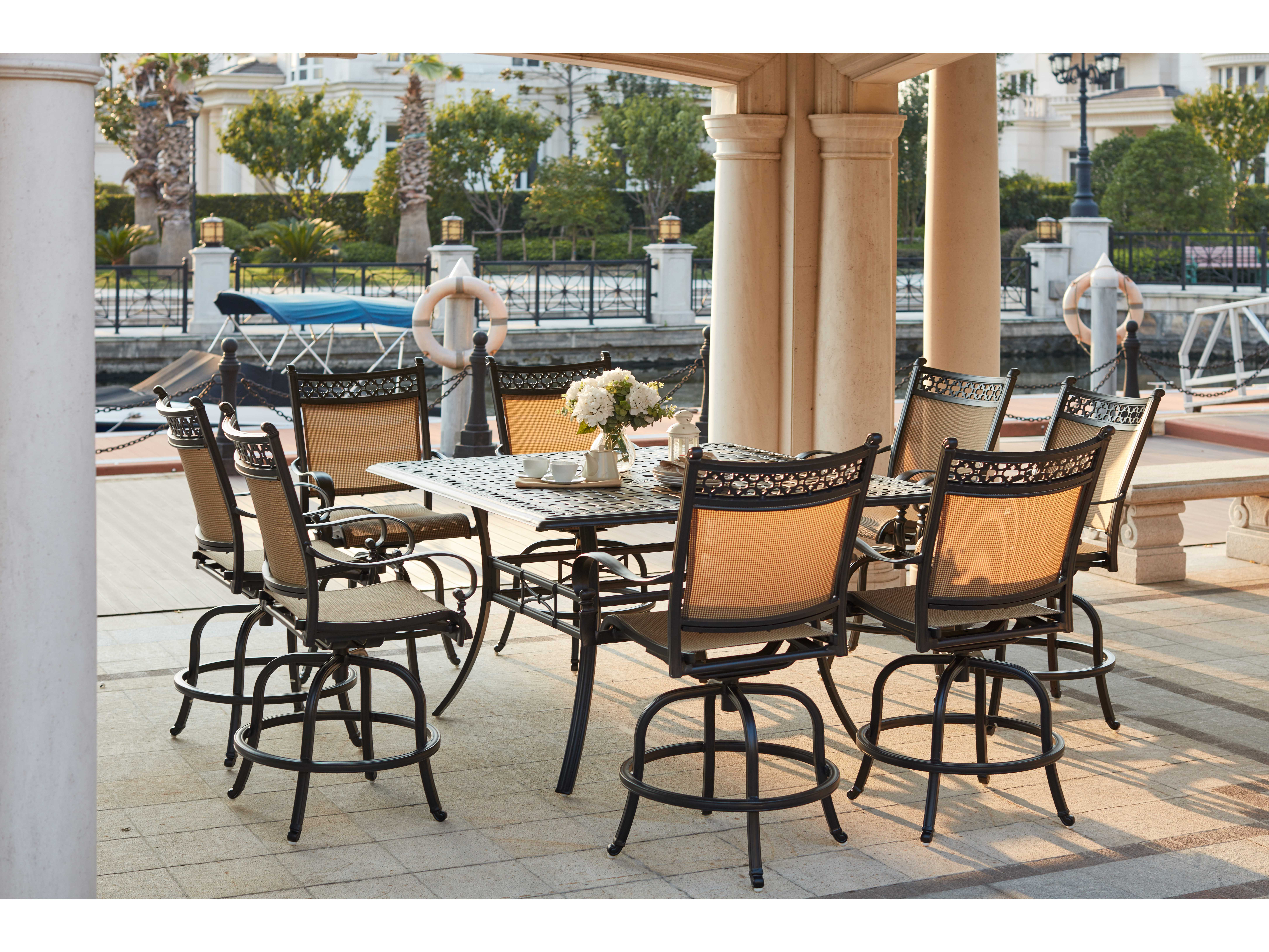 Darlee Outdoor Living Standard Mountain View Cast Aluminum 9- Piece Counter Height Dining Set with Square Counter Height Dining Table in Antique Bronze & Darlee Outdoor Living Standard Mountain View Cast Aluminum 9- Piece ...