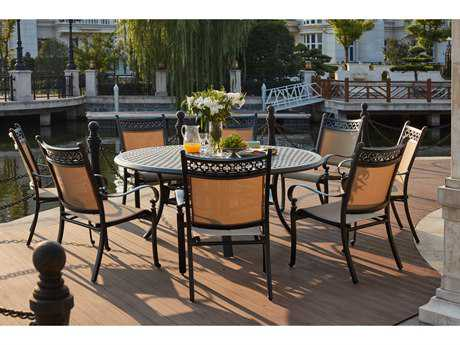 Darlee Outdoor Living Standard Mountain View Cast Aluminum 9- Piece Dining Set with 71 Inch Round in Antique Bronze