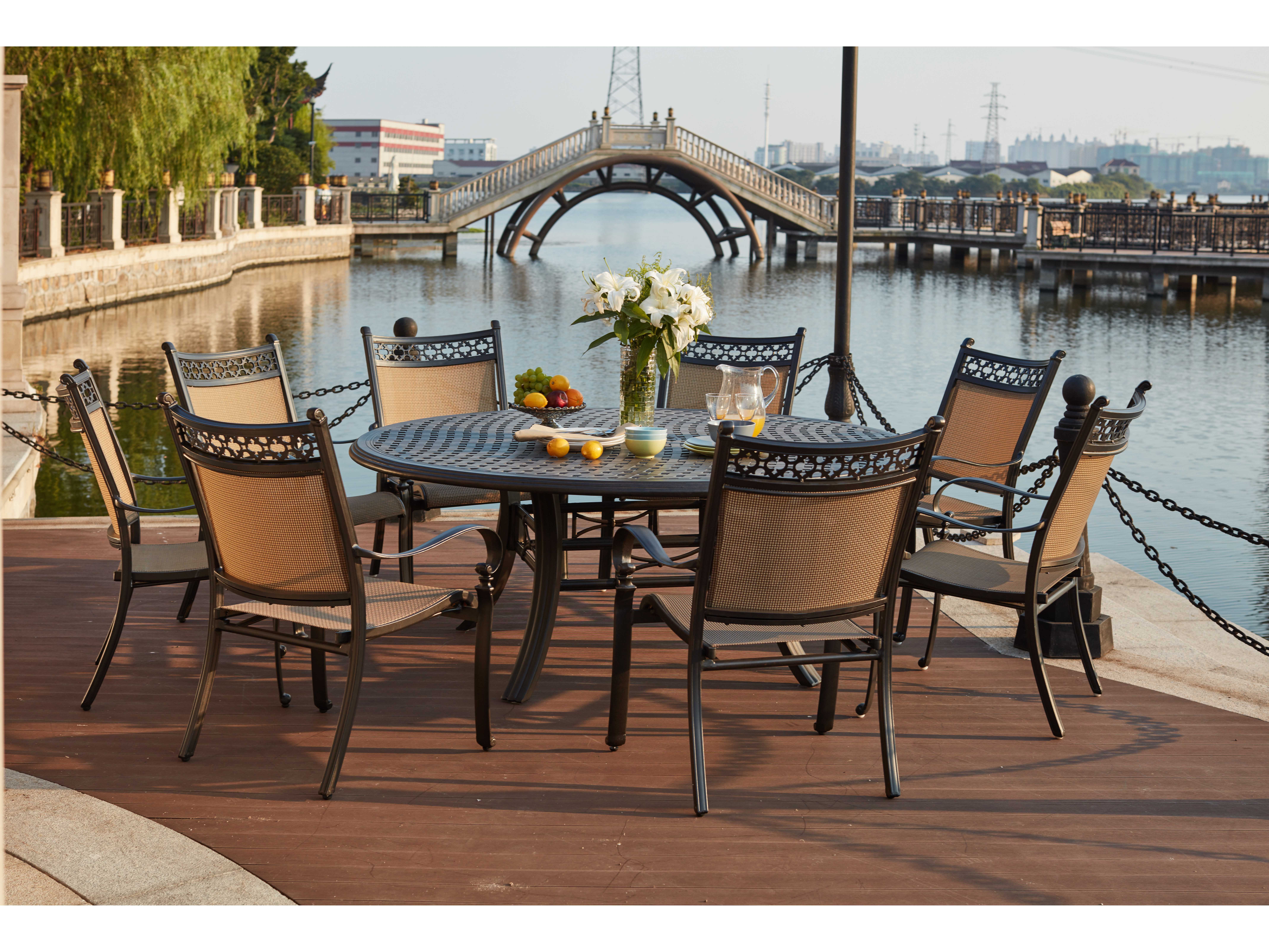 darlee outdoor living standard mountain view cast aluminum 9 piece dining set with 71 inch. Black Bedroom Furniture Sets. Home Design Ideas