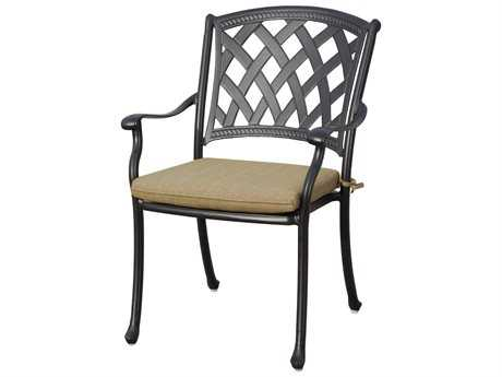 Darlee Ocean View Cast Aluminum Dining Chairs with Sesame Cushions (Price is for four chairs)