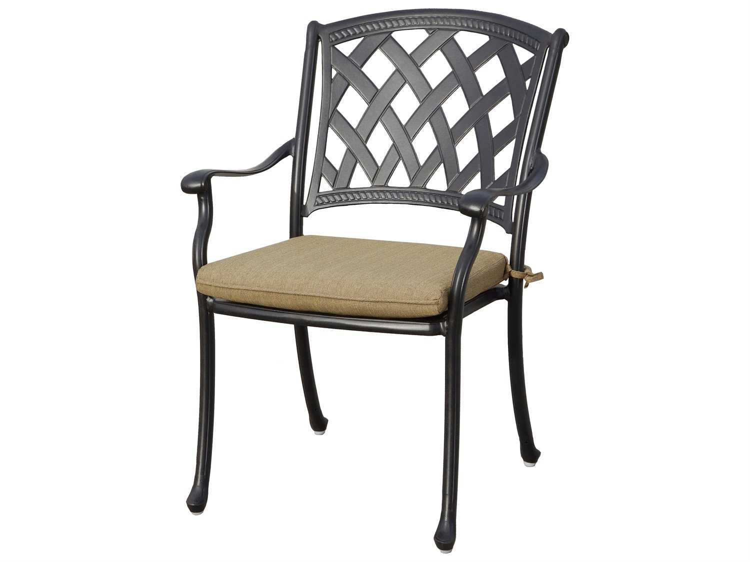 Darlee Ocean View Cast Aluminum Dining Chairs With Sesame Cushions Is For Four
