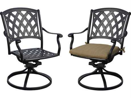 Darlee Ocean View Cast Aluminum Swivel Rocker Dining Chairs with Sesame Cushions (Price is for two chairs)