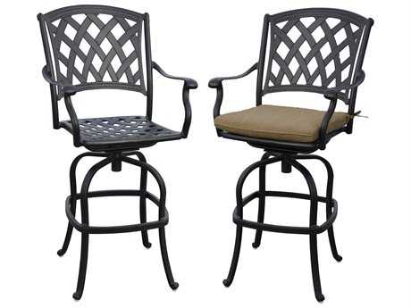 Darlee Ocean View Cast Aluminum Swivel Bar Stools with Seasame Cushions (Price is for a set of two chairs)