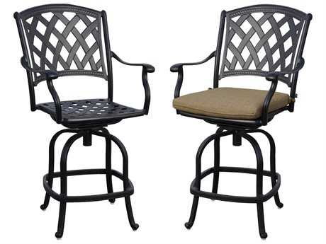 Darlee Ocean View Cast Aluminum Swivel Counter Chairs with Sesame Cushions (Price is for a set of 2 chairs)
