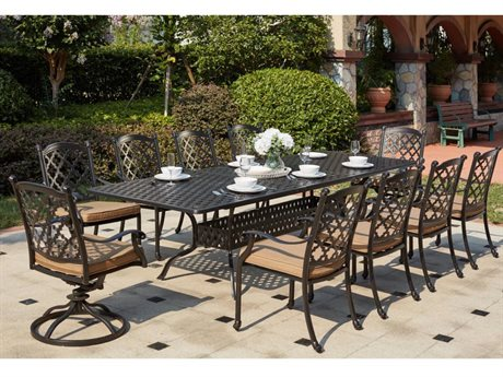 Darlee Outdoor Living Standard Madison Cast Aluminum 11- Piece Dining Set with 92 x 42 / 120 x 42 Rectangular Dining Table in Antique Bronze PatioLiving