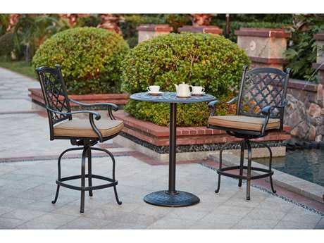 Darlee Outdoor Living Standard Madison Cast Aluminum 3- Piece Counter Height Bar Set with 30 Inch Round Counter Height Pedestal Bar Table in Antique Bronze PatioLiving