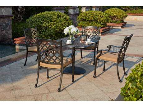 Darlee Outdoor Living Standard Madison Cast Aluminum 5 - Piece Pedestal Dining Set with 36 Inch Square Pedestal Dining Table in Antique Bronze PatioLiving