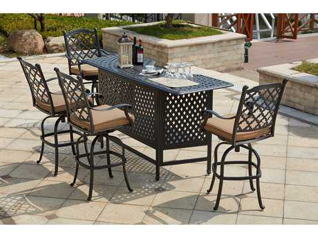 Darlee Outdoor Living Standard Madison Cast Aluminum 5- Piece Bar Set with 82 Inch Party Bar in Antique Bronze PatioLiving