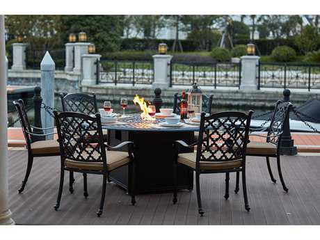 Darlee Outdoor Living Standard Madison Cast Aluminum 7- Piece Propane Fire Pit Dining Set with 60 Inch Round in Antique Bronze PatioLiving