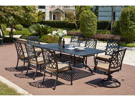 Darlee Outdoor Living Standard Madison Cast Aluminum 9- Piece Dining Set with 92 x 42 Rectangular in Antique Bronze