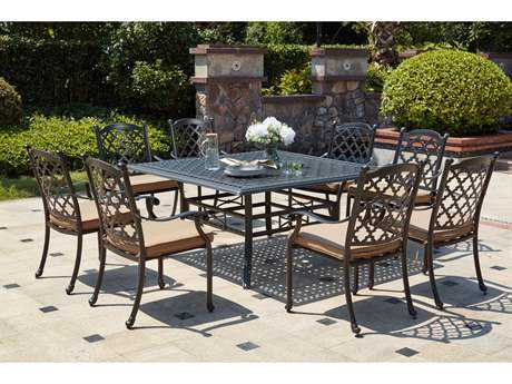 Darlee Outdoor Living Standard Madison Cast Aluminum 9- Piece Dining Set with 60 Inch Square Dining Table in Antique Bronze PatioLiving