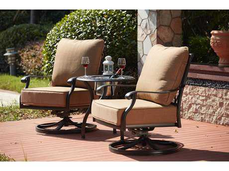 Darlee Outdoor Living Standard Madison Cast Aluminum 3- Piece Conversation Set with 24 Inch Round End Table / Ice Bucket Insert in Antique Bronze