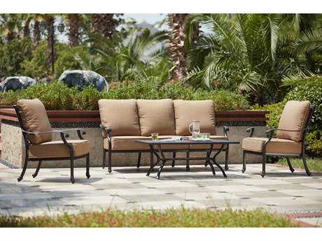 Darlee Outdoor Living Standard Madison Cast Aluminum 4- Piece Deep Seating Set with 48 x 26 Coffee Table in Antique Bronze PatioLiving