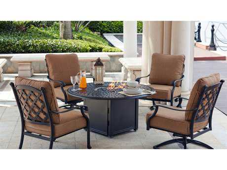 Darlee Outdoor Living Standard Madison Cast Aluminum 5- Piece Propane Fire Pit Conversation Set with 52 Inch Round Chat Table in Antique Bronze PatioLiving