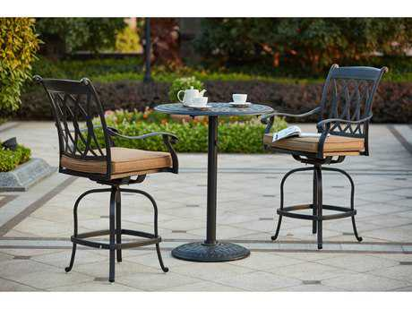Darlee Outdoor Living Standard Capri Cast Aluminum 3-Piece Counter Height Bar Set with 30 Inch Round Counter Height Pedestal Bar Table in Antique Bronze