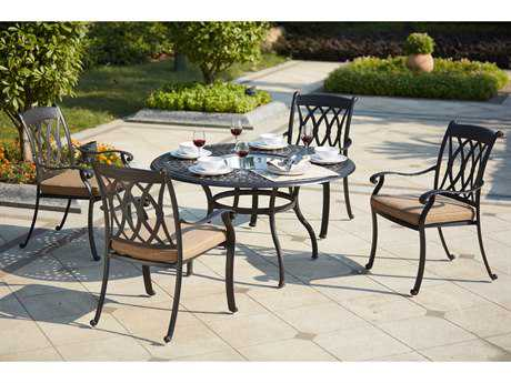 Darlee Outdoor Living Standard Capri Cast Aluminum 5- Piece Dining Set with 52 Inch Round Dining Table / ice Bucket Insert in Antique Bronze