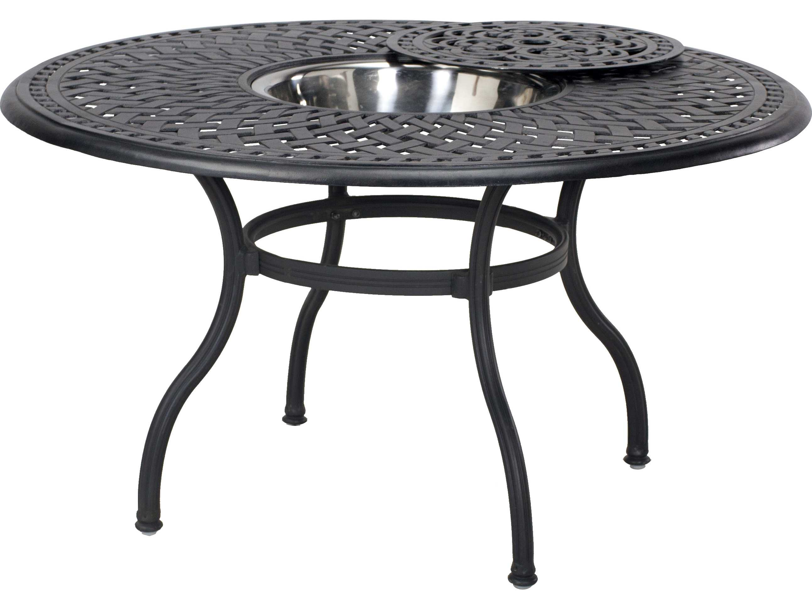 Darlee outdoor living standard capri cast aluminum 5 for Round dining table 52 inch