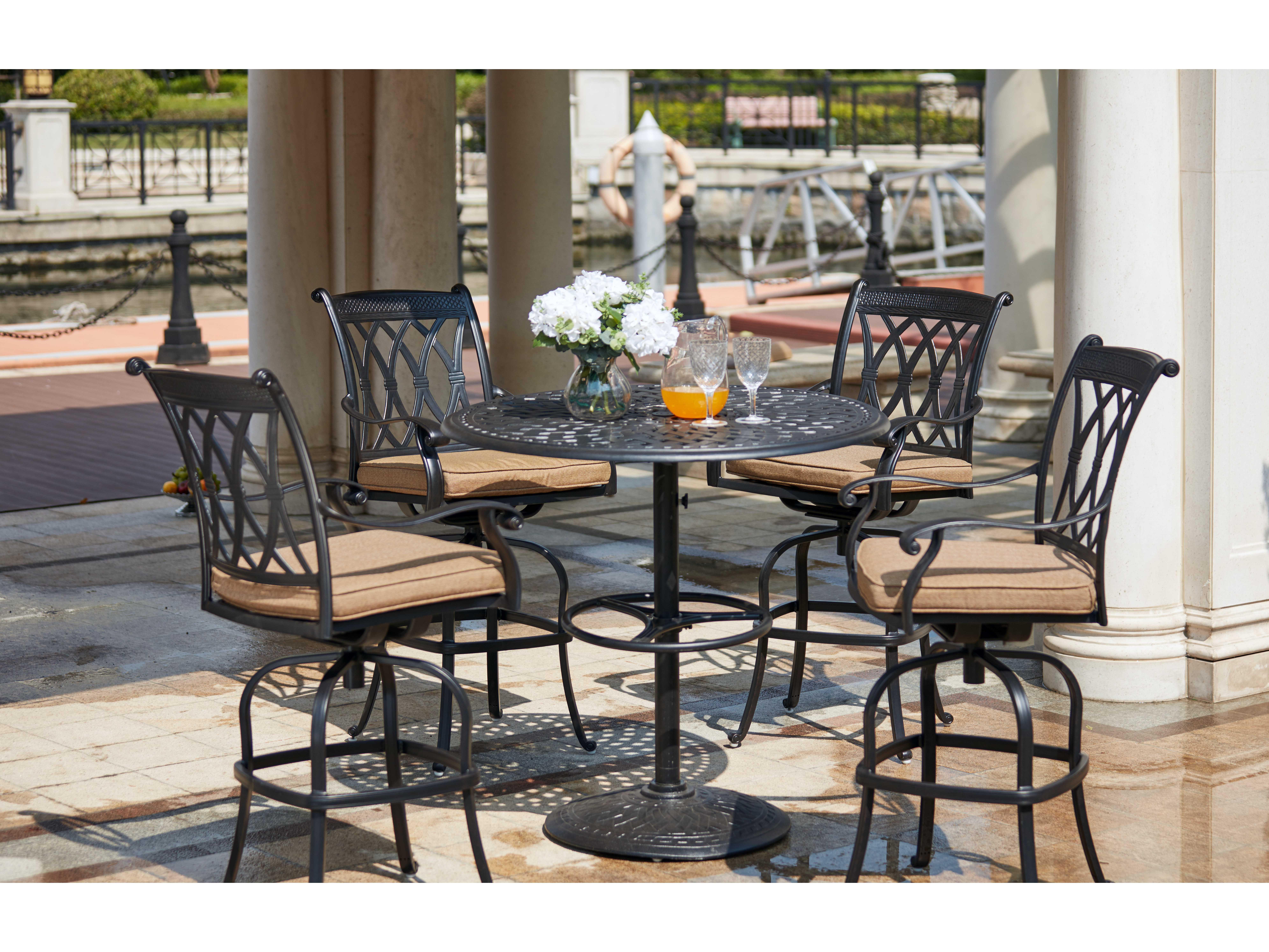 Darlee Outdoor Living Standard Capri Cast Aluminum 5 Piece Pedestal Bar Set With 42 Inch Table In Antique Bronze