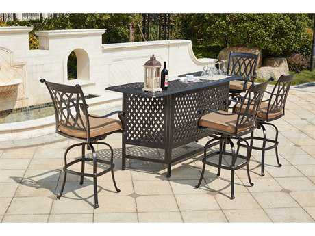 Darlee Outdoor Living Standard Capri Cast Aluminum 5- Piece Bar Set with 82 Inch Party Bar in Antique Bronze PatioLiving