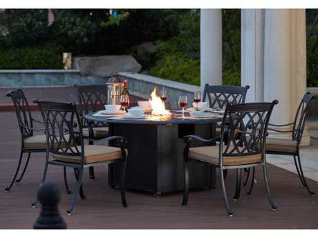 Darlee Outdoor Living Standard Capri Cast Aluminum 7- Piece Propane Fire Pit Dining Set with 60 Inch Round in Antique Bronze