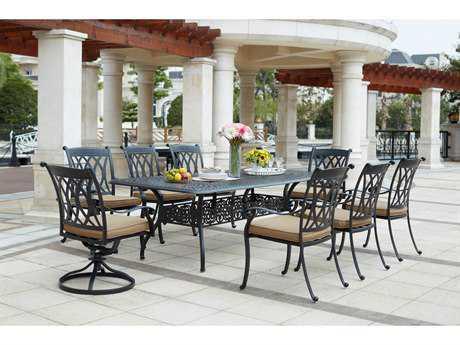 Darlee Outdoor Living Standard Capri Cast Aluminum 9- Piece Dining Set with 92 x 42 Rectangular Dining Table in Antique Bronze