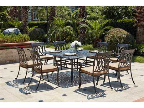Darlee Outdoor Living Standard Capri Cast Aluminum 9- Piece Dining Set with 60 Inch Square Dining Table in Antique Bronze