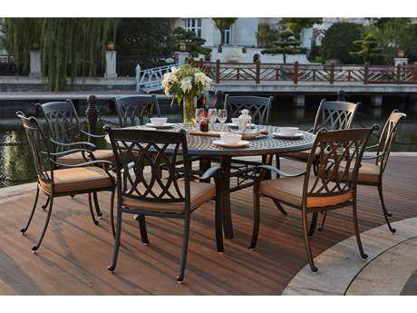 Darlee Outdoor Living Standard Capri Cast Aluminum 9- Piece Dining Set with 71 Inch Round Dining Table in Antique Bronze