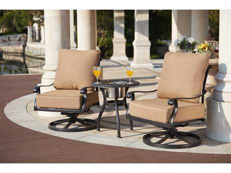 Darlee Outdoor Living Standard Capri Cast Aluminum 3- Piece Conversation Set with 24 Inch Round End Table / Ice Bucket Insert in Antique Bronze