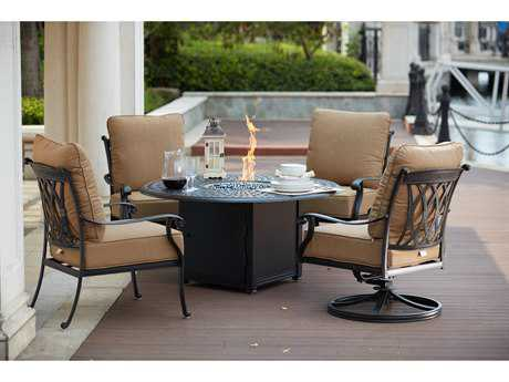 Darlee Outdoor Living Standard Capri Cast Aluminum 5- Piece Propane Fire Pit Conversation Set with 52 Inch Round Chat Table in Antique Bronze