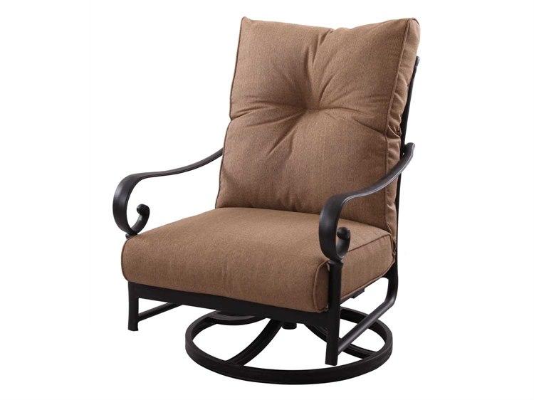 Darlee Outdoor Living Standard Santa Anita Cast Aluminum Antique Bronze Swivel Rocker Club Chair