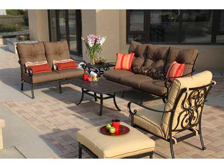 Darlee Outdoor Living Standard Santa Anita Cast Aluminum Antique Bronze Deep Seating Group 4 PC Set