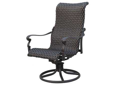 Darlee Outdoor Living Standard Victoria Wicker Espresso Swivel Rocker Chair PatioLiving