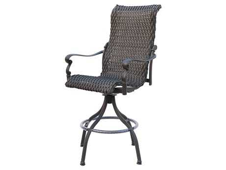 Darlee Outdoor Living Standard Victoria Wicker Espresso Swivel Bar Stool