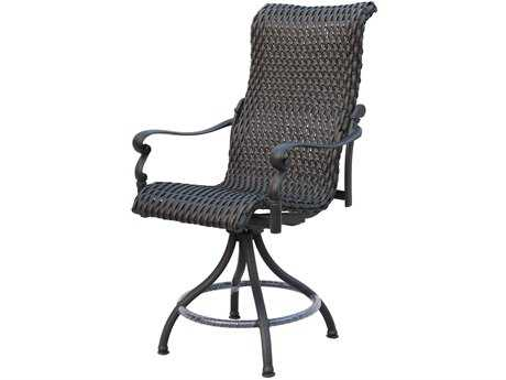 Darlee Outdoor Living Standard Victoria Wicker Espresso Swivel Counter Height Stool