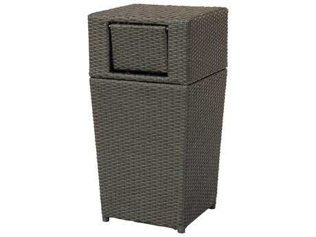 Darlee Outdoor Cast Aluminum Wicker Cappuccino Trash Receptacle