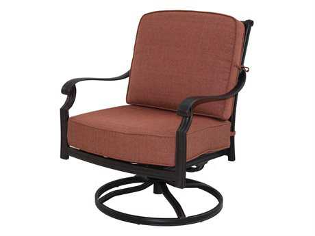 Darlee Outdoor Living Standard St. Cruz Cast Aluminum Antique Bronze Swivel Rocker Club Chair