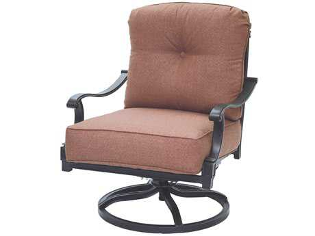 Darlee Outdoor Living Standard Charleston Cast-Aluminum Antique Bronze Swivel Rocker Club Chair PatioLiving