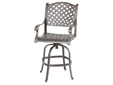 Darlee Outdoor Living Standard Nassau Cast Aluminum Antique Bronze Swivel Bar Stool