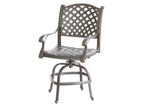 Darlee Outdoor Living Quick Ship Nassau Cast Aluminum Antique Bronze Swivel Counter Height Stool