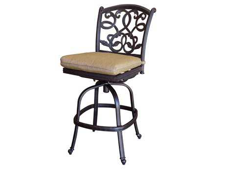 Darlee Outdoor Living Quick Ship Santa Monica Cast Aluminum Antique Bronze Swivel Counter Height Stool