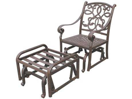 Darlee Outdoor Living Standard Santa Monica Cast Aluminum Antique Bronze Single Glider and Ottoman