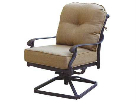 Darlee Outdoor Living Standard Santa Monica Cast Aluminum Antique Bronze Swivel Rocker Club Chair