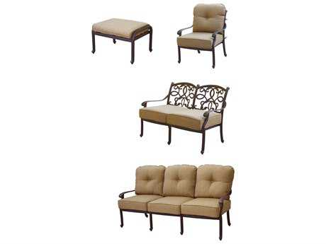 Darlee Outdoor Living Standard Santa Monica XCast Aluminum 4-Piece Deep Seating Set in Antique Bronze