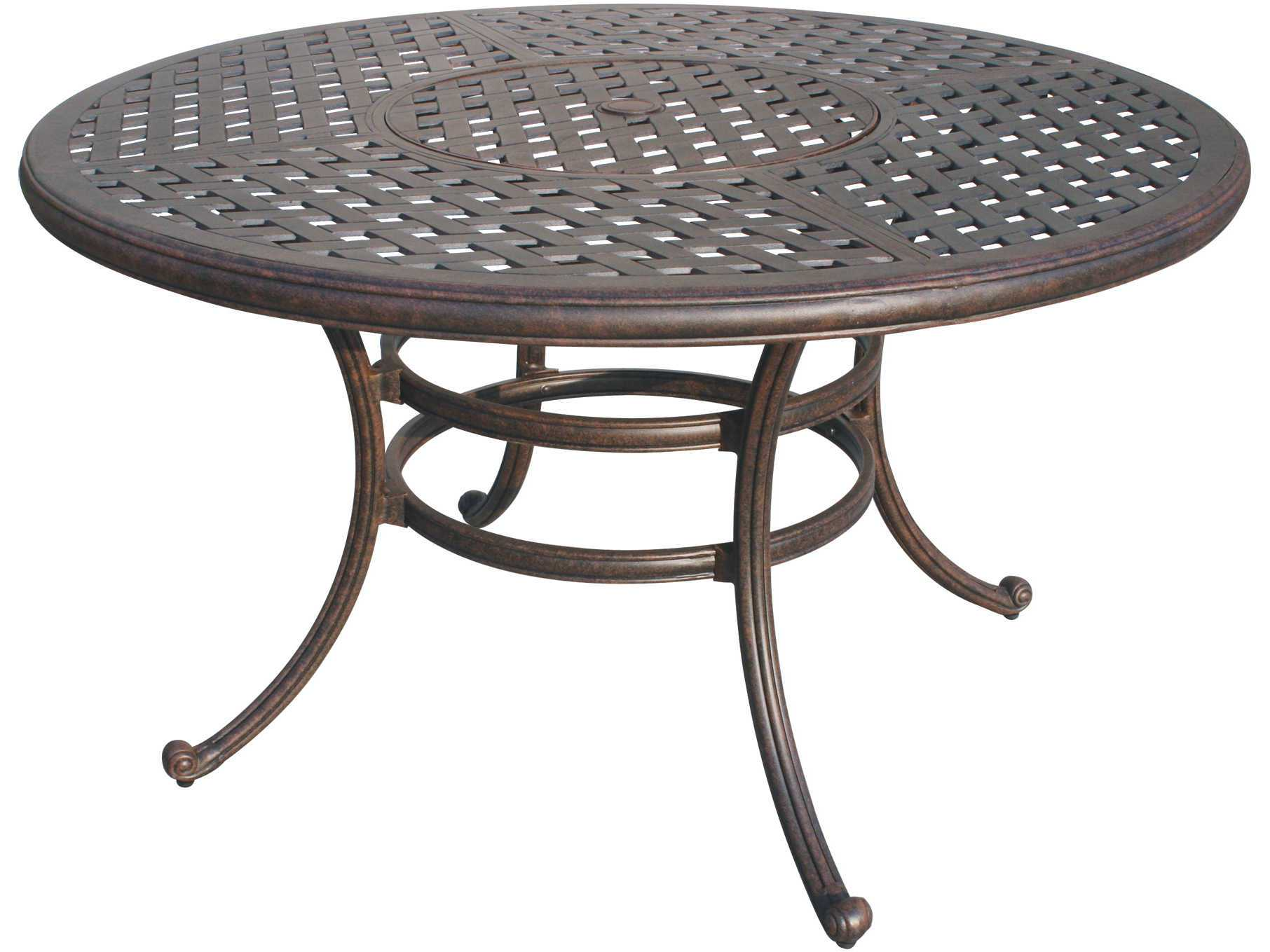 aluminum antique bronze 52 round dining table with ice bucket