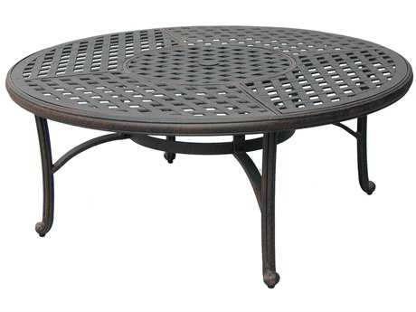 Darlee Outdoor Living Series 30 Cast Aluminum Antique Bronze 52 Round Chat Table with Ice Bucket