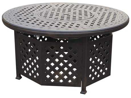 Darlee Outdoor Living Series 30 Cast Aluminum Antique Bronze 48 Round Propane Fire Pit Chat Table