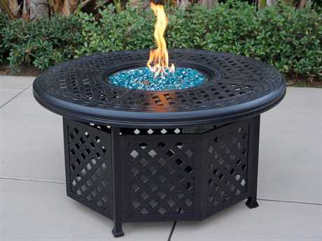 Darlee Outdoor Living Series 30 Cast Aluminum Antique Bronze 48 Round Propane Fire Pit Chat Table DADL30QB