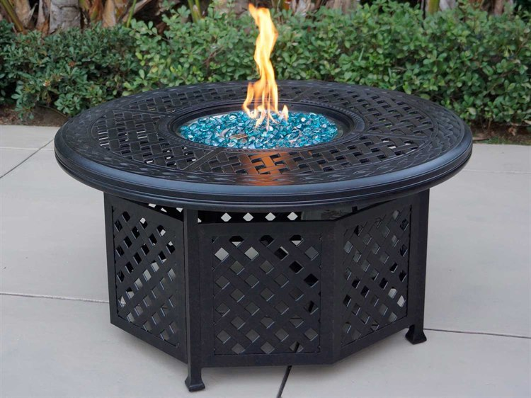 Darlee Outdoor Living Series Cast Aluminum Antique Bronze - Cast aluminum gas fire pit table